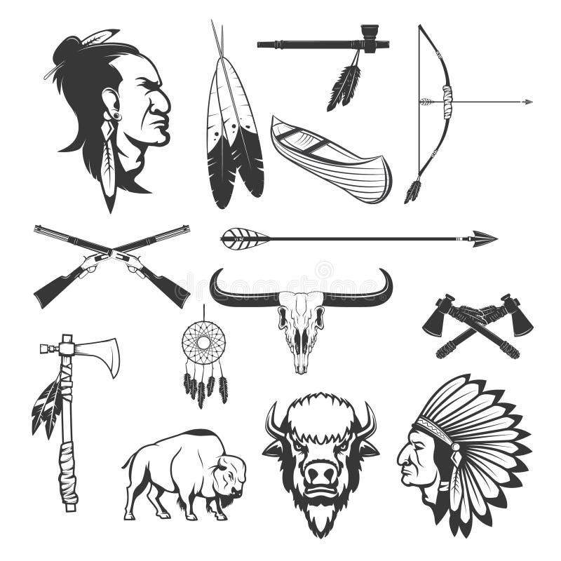 Indische pictogrammen Inheemse Amerikanen Het Amerikaanse wapen van Indiërs royalty-vrije illustratie