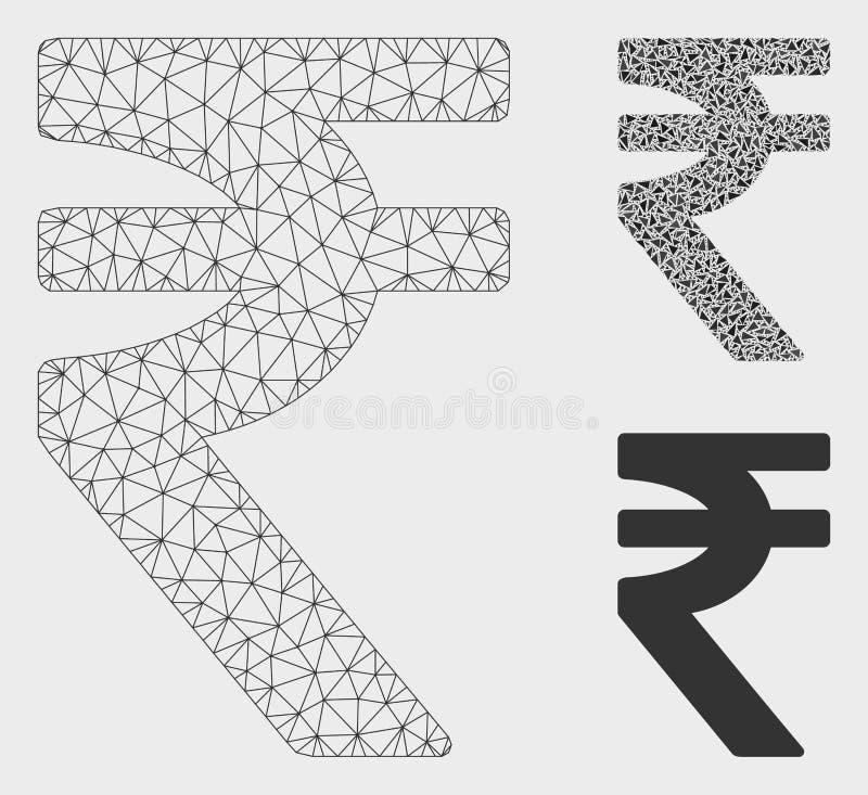 Indische Roepie Vector het Mozaïekpictogram van Mesh Carcass Model en van de Driehoek stock illustratie