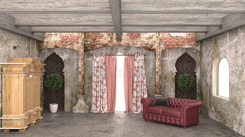 Indische ruimte, het Leven Marokko stijl het 3d teruggeven royalty-vrije illustratie