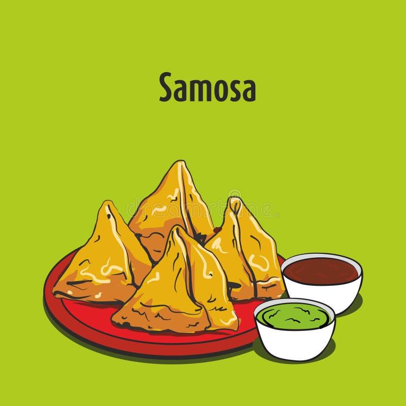 Indische samosa vectorillustratie van het straatvoedsel stock illustratie