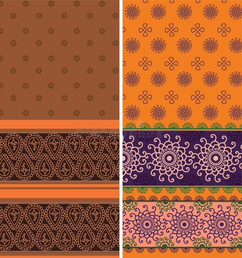 Indische Sari Borders stock illustratie