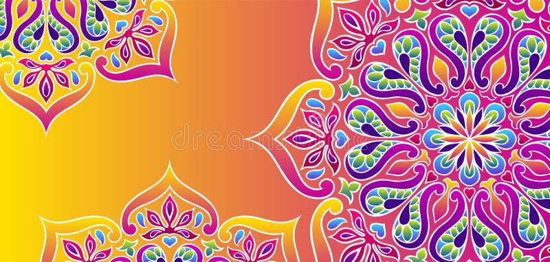 Indische sierachtergrond Etnische volksmandala vector illustratie