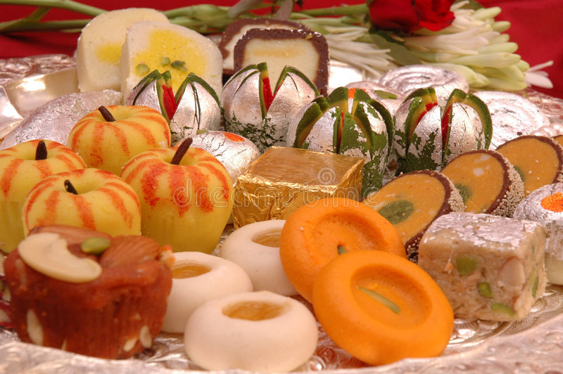 Indische Snoepjes - Mithai stock foto's