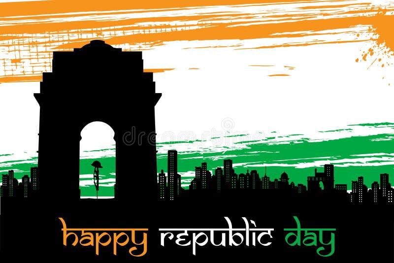 Indische Stadt scape auf Tricolor grungy Hintergrund stock abbildung