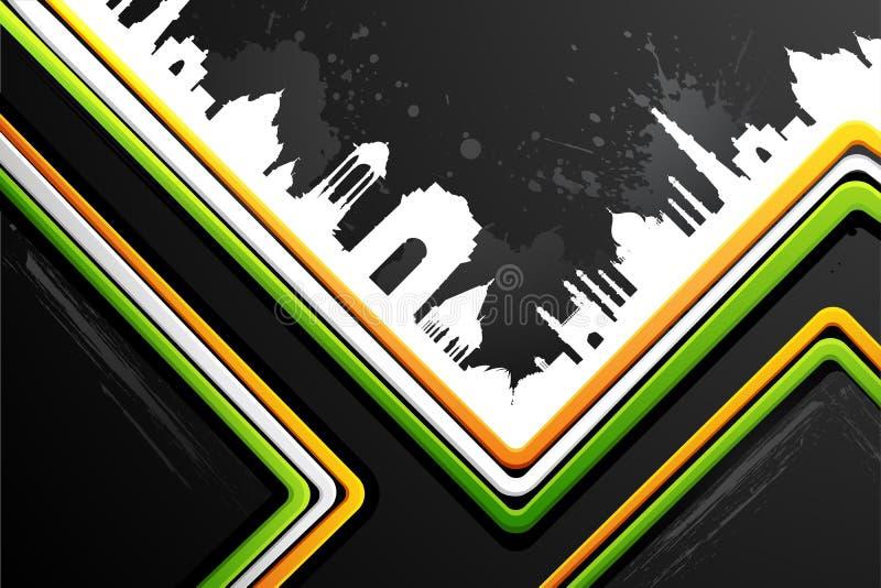 Indische Stadt scape auf Tricolor Hintergrund vektor abbildung