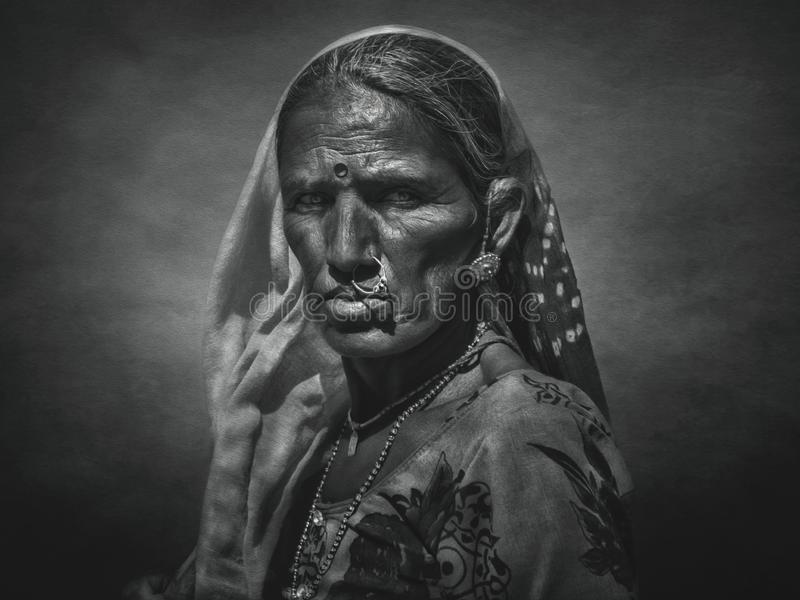 Indische stammenvrouw van Pushkar Met kunstfilter stock illustratie