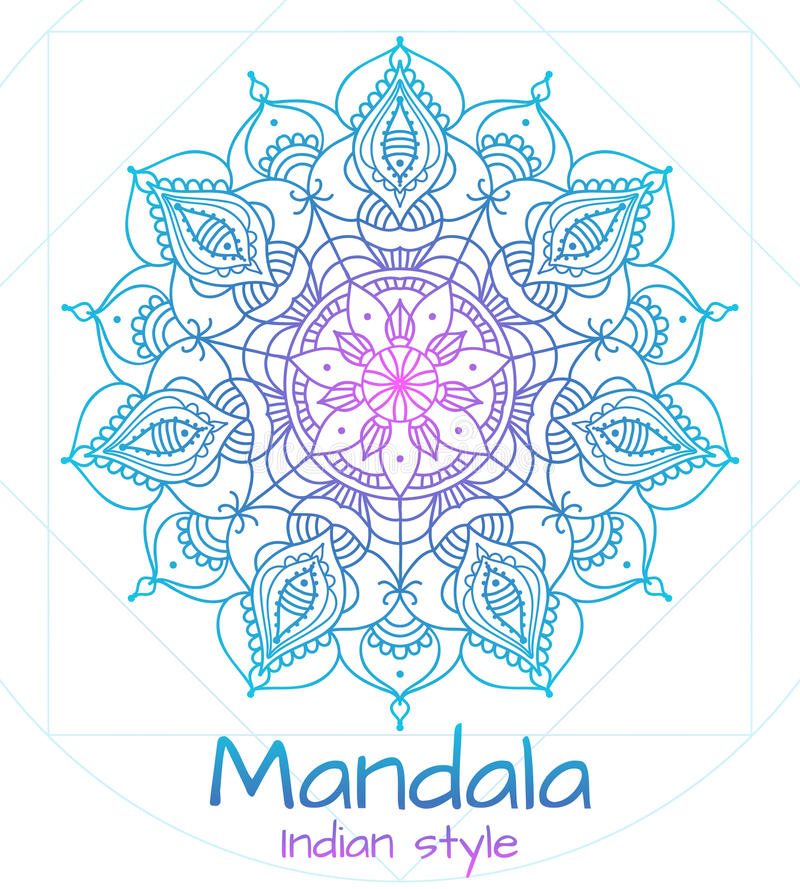 Indische stijl van de Mandala de dunne lijn stock illustratie
