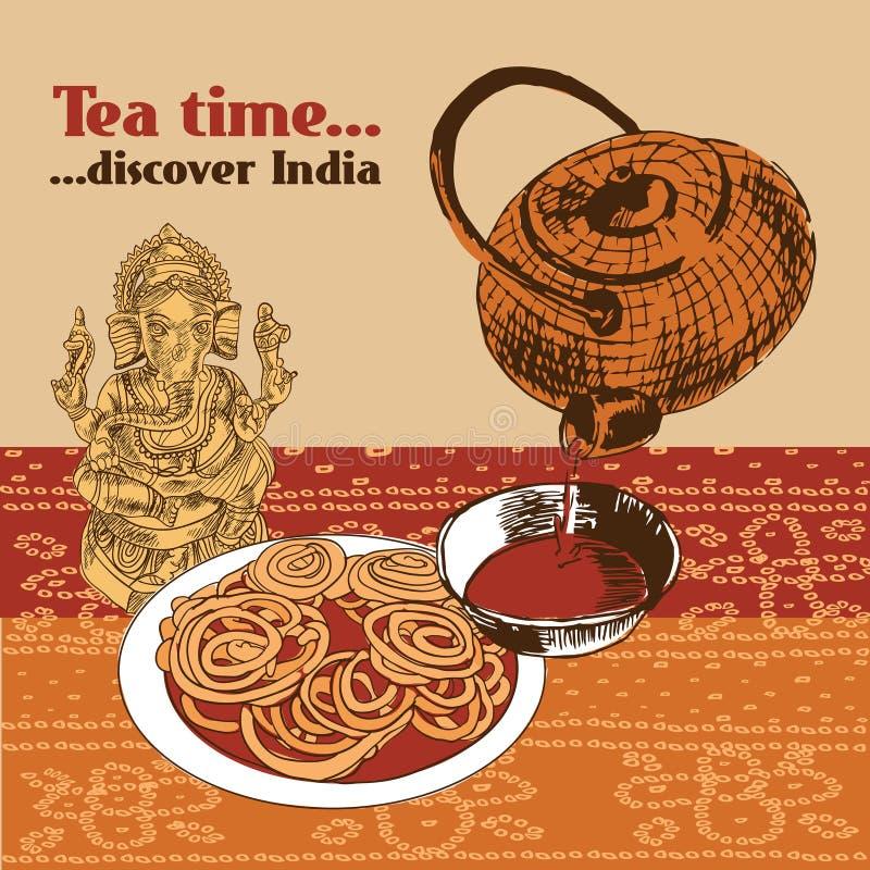 Indische Teekanne und Schale vektor abbildung
