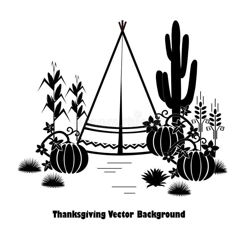 Indische thema grafische die illustratie voor Thanksgiving day wordt geplaatst Tipi, pompoenen, tarwe, en graan stock illustratie
