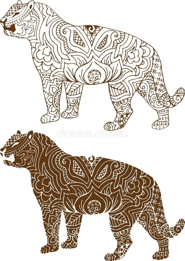 Indische tijgerpatronen stock illustratie