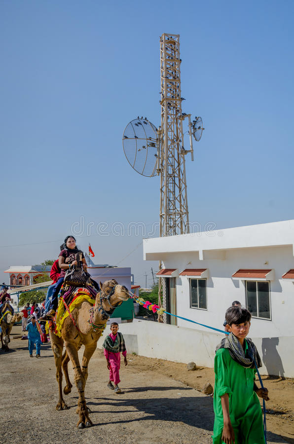 Indische Touristen, die Kamele bei Kalo Dungar, Kutch, Indien reiten stockfotos