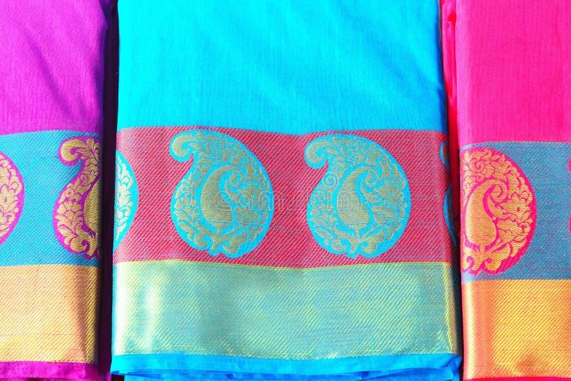 Indische Traditionele Zijde Saree stock foto's