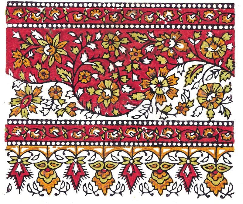 Indische traditionelle Textilauslegung stock abbildung