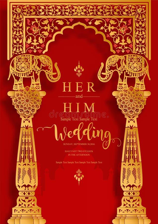 Indische van de het huwelijksuitnodiging van de huwelijksuitnodiging carddian die de kaartmalplaatjes met goud en kristallen op d vector illustratie
