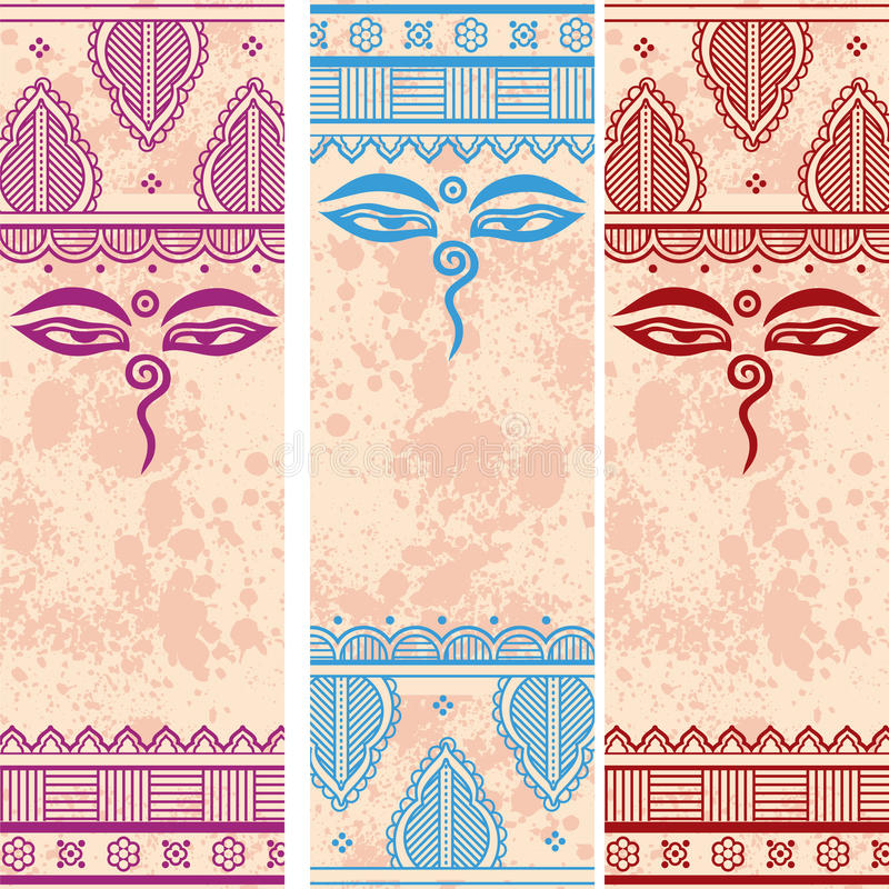 Indische van het ontwerpboedha van henna grunge Paisley de ogen verticale banners stock illustratie