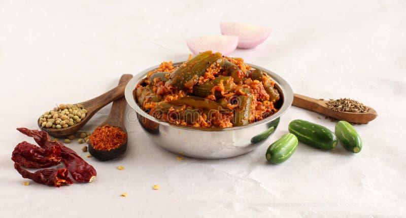 Indische vegetarische Beilage und Bestandteile Ivy Gourds oder Tindora-Currys stockbilder