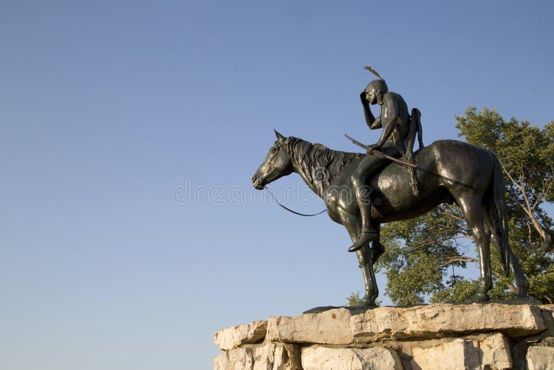 Indische Verkenner Statue in de stad Missouri van Kansas royalty-vrije stock fotografie