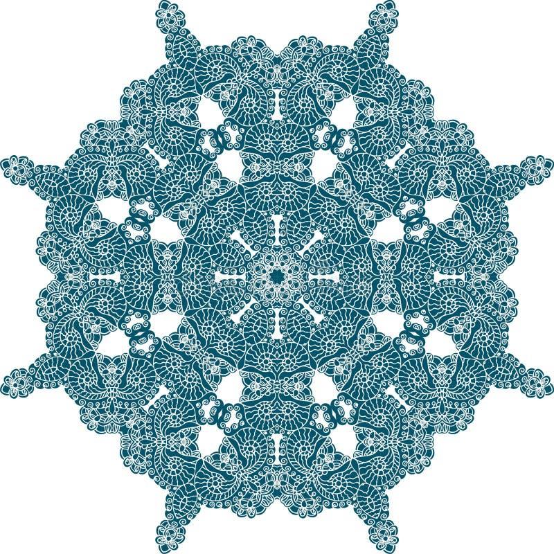 Indische Verzierung, Paisley-Blumenmuster, Mandala Kreisen Sie das bunte Muster ein, das auf einem weißen Hintergrund, Häkelarbei stock abbildung