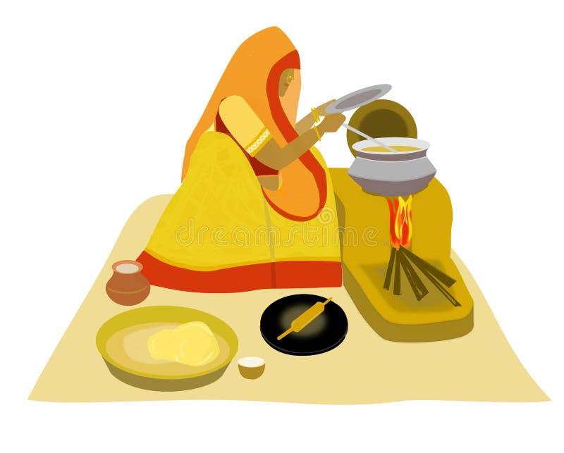 Indische Villlage Dame, die auf tönernem Ofen kocht vektor abbildung