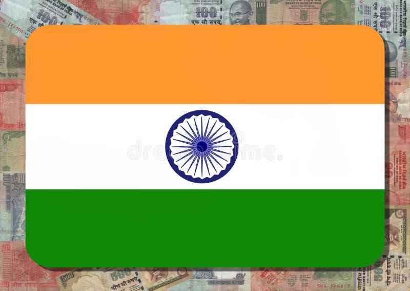 Indische vlag met Roepies stock illustratie