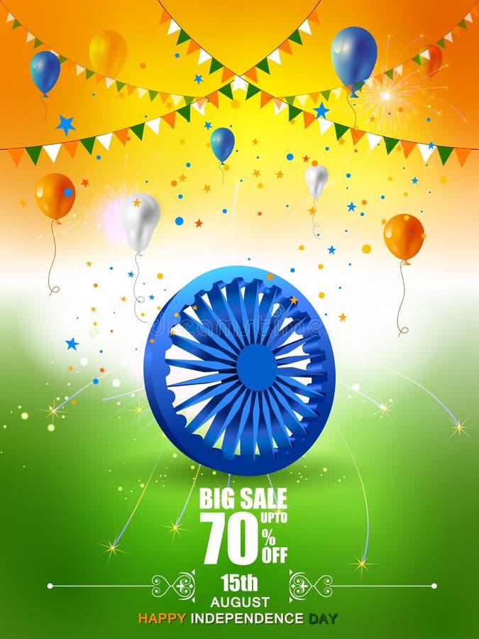 Indische Vlag op Gelukkige Onafhankelijkheidsdag van de Verkoop van India en Bevorderingsachtergrond vector illustratie