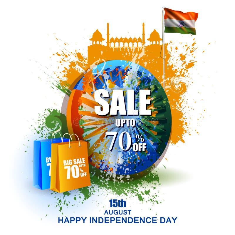 Indische Vlag op Gelukkige Onafhankelijkheidsdag van de Verkoop van India en Bevorderingsachtergrond royalty-vrije illustratie