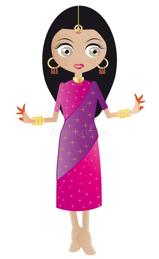 Indische Vrouw Bollywood in Roze en Purpere Sari stock illustratie