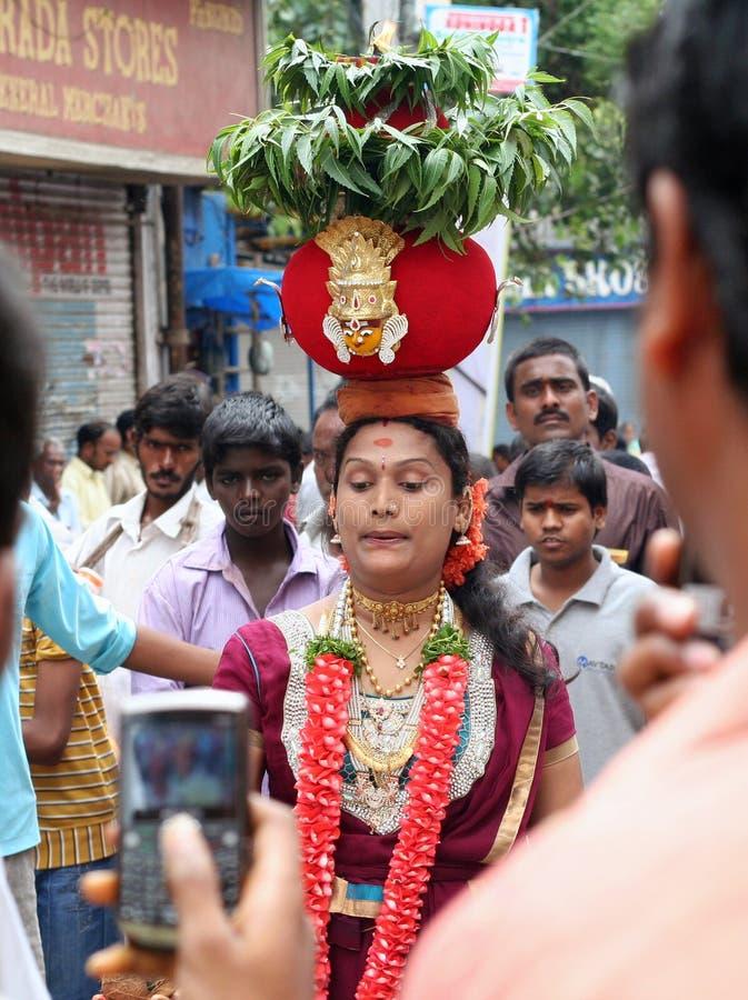 Indische vrouw die bonam draagt royalty-vrije stock foto