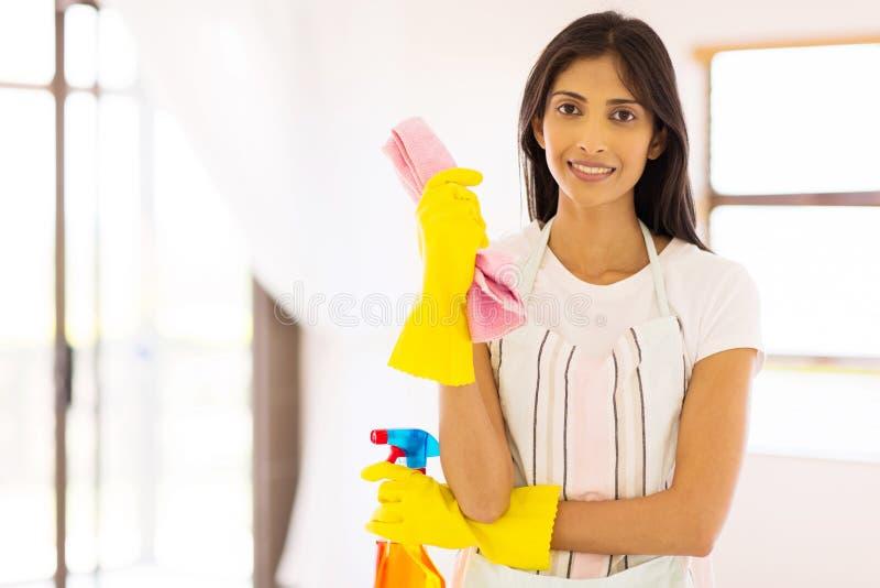 Indische vrouwen schoonmakende hulpmiddelen stock foto's