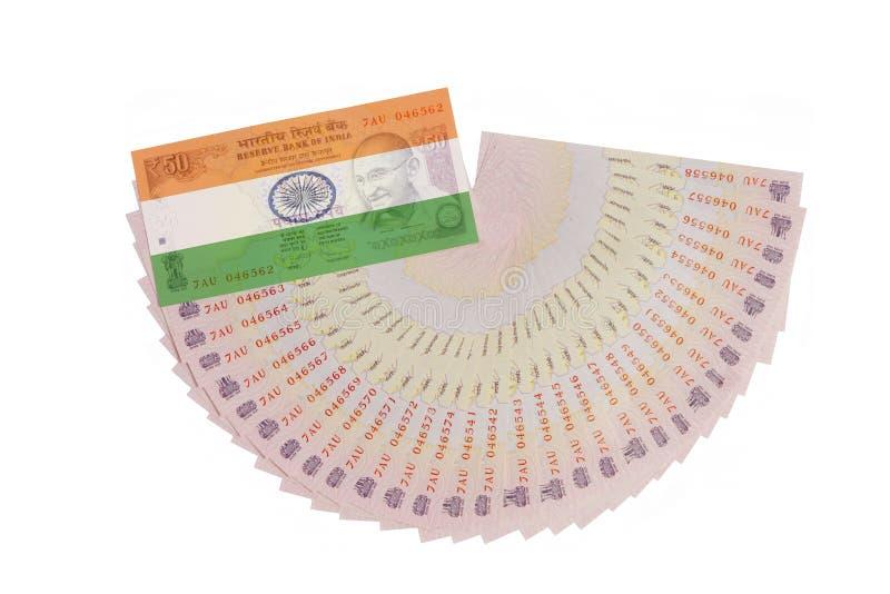 Indische Währung mit Flagge lizenzfreie stockbilder