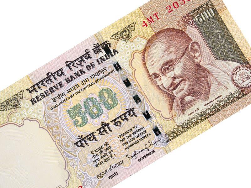 Indische Währung 500 Rupie annullierte Banknote, Indien verbot Geld lizenzfreies stockfoto