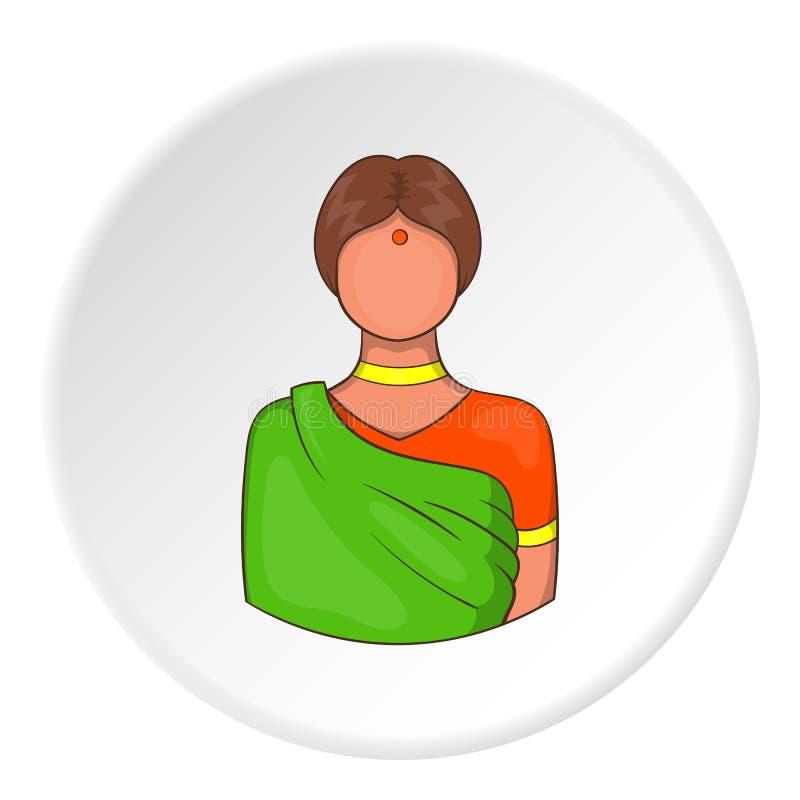 Indische weibliche Ikone, Karikaturart lizenzfreie abbildung