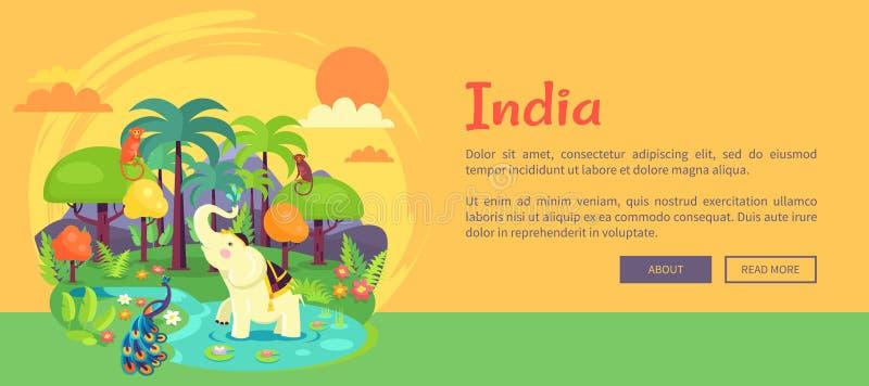 Indische Wildernis met Lange Bomen en Exotische Dieren royalty-vrije illustratie