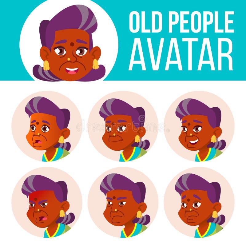 Indischer alte Frauen-Avatara-Satz-Vektor hinduistisch Asiatisch Stellen Sie Gefühle gegenüber Älterer Person Portrait Ältere Men stock abbildung