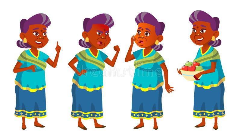 Indischer alte Frauen-Satz-Vektor Ältere Menschen hinduistisch Asiat im Sari Ältere Person gealtert Lustiger Pensionär freizeit lizenzfreie abbildung