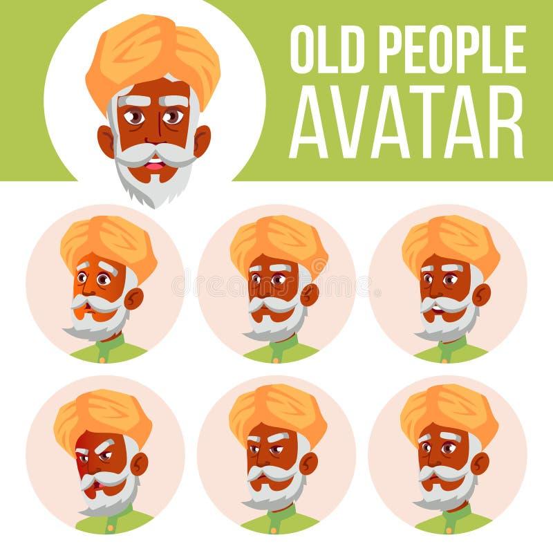 Indischer alter Mann-Avatara-Satz-Vektor hinduistisch Asiatisch Stellen Sie Gefühle gegenüber Älterer Person Portrait Ältere Mens lizenzfreie abbildung