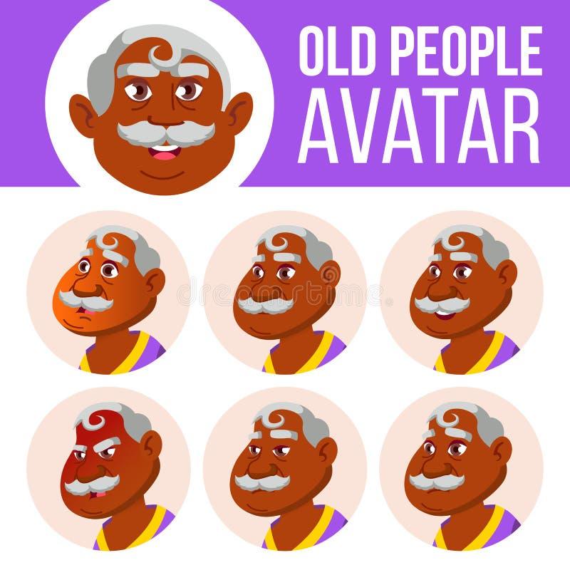 Indischer alter Mann-Avatara-Satz-Vektor Stellen Sie Gefühle gegenüber hinduistisch Asiatisch Älterer Person Portrait Ältere Mens lizenzfreie abbildung