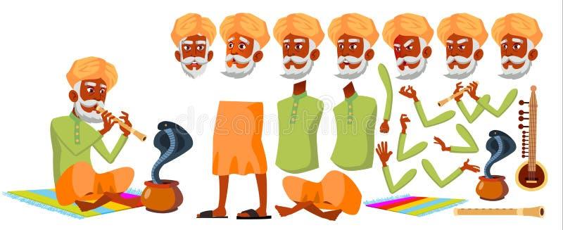 Indischer alter Mann-Vektor Älterer Person Portrait Ältere Menschen gealtert Animations-Schaffungs-Satz Gesichts-Gefühle, Gesten stock abbildung