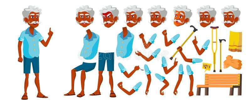 Indischer alter Mann-Vektor Älterer Person Portrait Ältere Menschen gealtert Animations-Schaffungs-Satz Gesichts-Gefühle, Gesten vektor abbildung