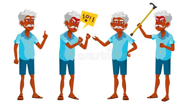 Indischer alter Mann wirft gesetzten Vektor auf Ältere Menschen hinduistisch Asiatisch Ältere Person gealtert Positiver Pensionär vektor abbildung