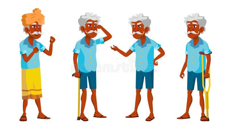 Indischer alter Mann wirft gesetzten Vektor auf Ältere Menschen Ältere Person gealtert Freundlicher Großvater hinduistisch Asiati vektor abbildung