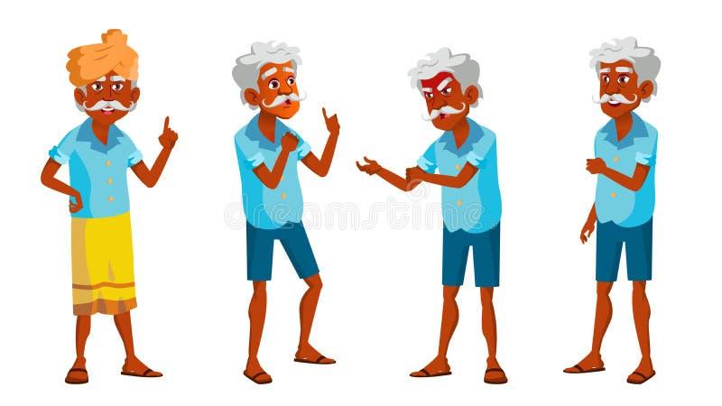 Indischer alter Mann wirft gesetzten Vektor auf Ältere Menschen Ältere Person hinduistisch Asiatisch gealtert Lächeln Netz, Plaka lizenzfreie abbildung