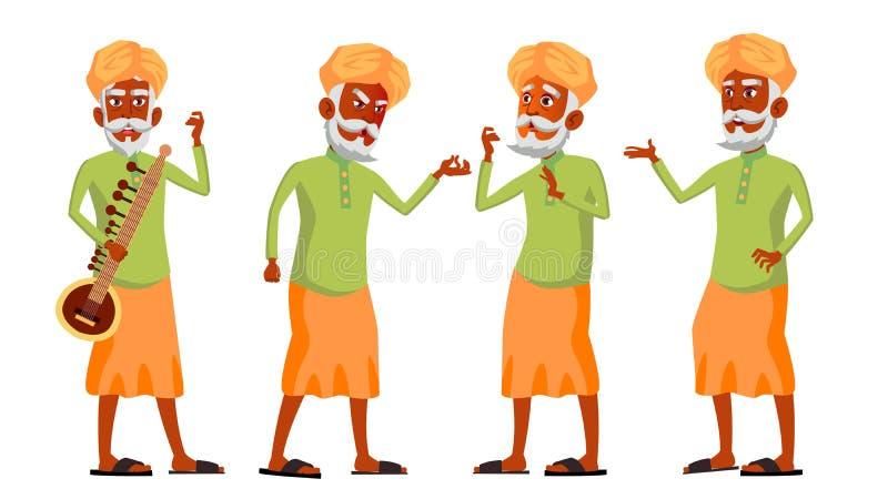 Indischer alter Mann wirft gesetzten Vektor auf hinduistisch Asiatisch Ältere Menschen Ältere Person gealtert lebensstil Postkart vektor abbildung