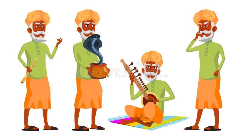 Indischer alter Mann wirft gesetzten Vektor auf hinduistisch Asiatisch Ältere Menschen Ältere Person gealtert Schlangen-Kobra-Tan lizenzfreie abbildung