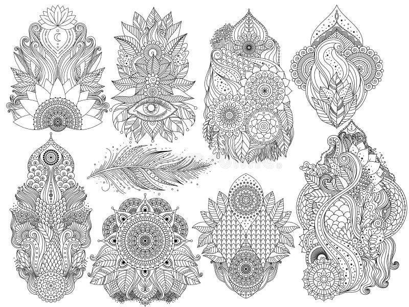 Indischer Blumen-mehendi Satz vektor abbildung