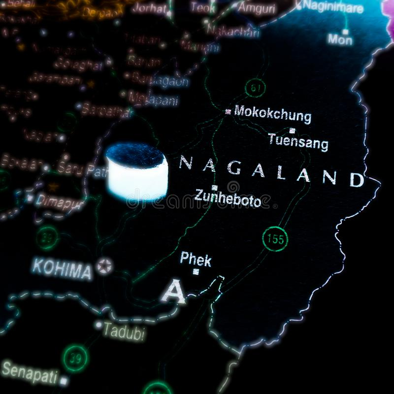 Indischer Bundesstaat Nagaland und Bundesstaat Indien, auf der geografischen Karte dargestellt stockbild