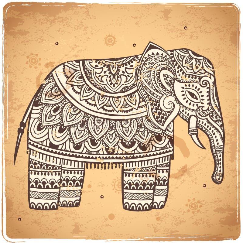 Indischer Elefant der Weinlese mit Stammes- Verzierungen Mandalagruß vektor abbildung