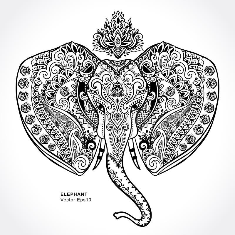 Indischer Elefant der Weinlese mit Stammes- Verzierungen Mandalagruß lizenzfreie abbildung