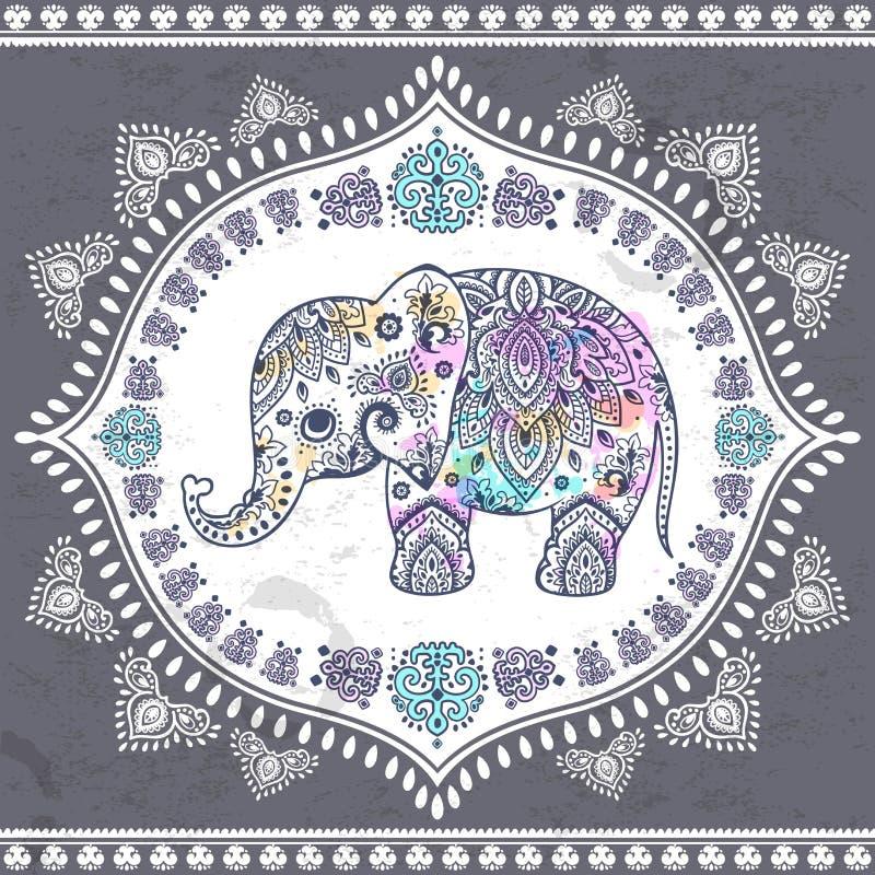 Indischer Elefant der Weinlese mit Stammes- Verzierungen Mandalagruß stock abbildung