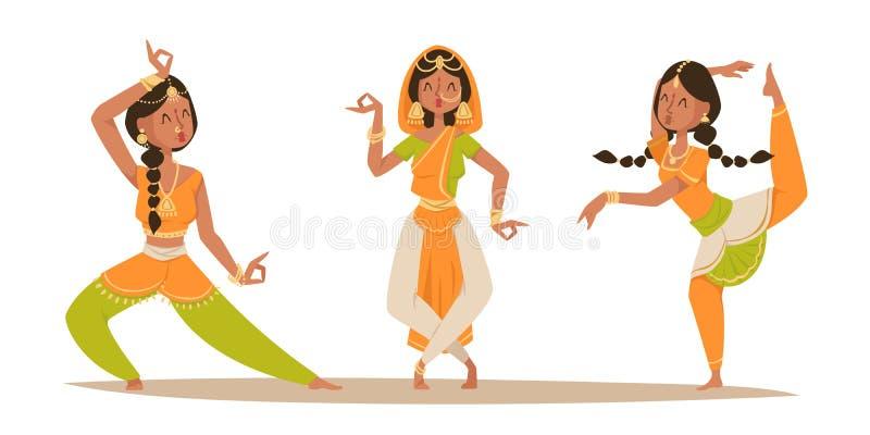 Indischer Frauentanzenvektor lokalisierte Tänzerschattenbildikonenleute Indien-Tanzshowfilm, Kinokarikatur-Schönheitsmädchen vektor abbildung